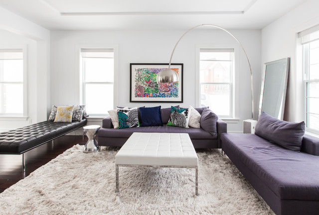 White Fluffy Rug Living Room Contemporary with Arc Lamp Barcelona Beige