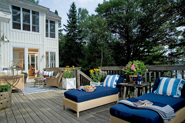 Wicker Chair Cushions Deck Rustic with Board and Batten Chaise