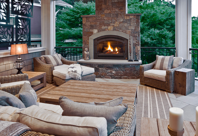Wicker Patio Furniture Clearance Deck Traditional with Arched Blue Stone Surround