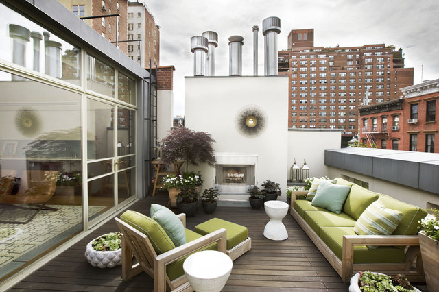 Winston Outdoor Furniture Deck Contemporary with Chimney Container Garden Exterior