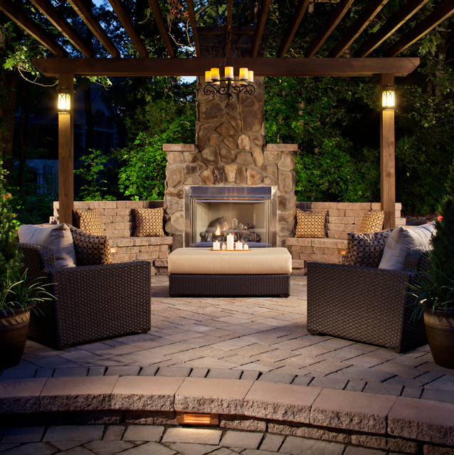 Winston Outdoor Furniture Patio Traditional with Brick Paving Built in Bench