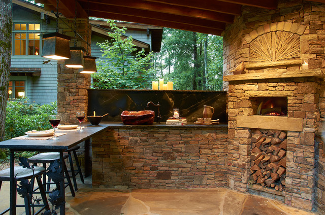 Wood Burning Pizza Oven Patio Rustic with Covered Patio Firewood Storage