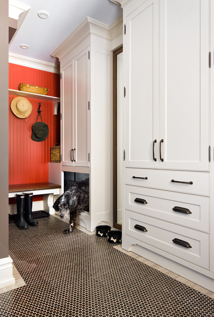 Wood Dog Crate Entry Traditional with Beadboard Wall Black And