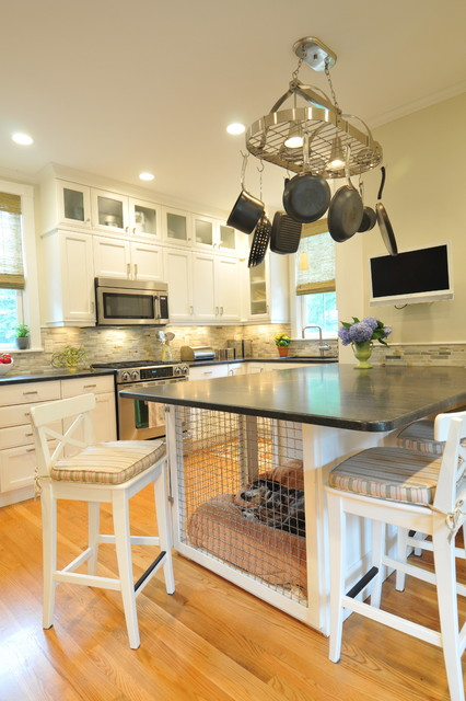 Wood Dog Crate Kitchen Transitional with Black Granite Breakfast Bar