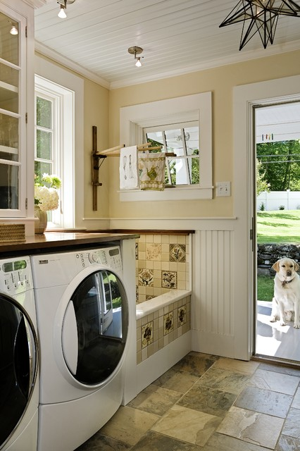 Wood Dog Crate Laundry Room Traditional with Back Door Bead Board