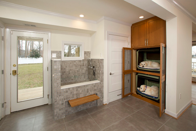 wood dog crate Laundry Room Transitional with built in cabinets Dog