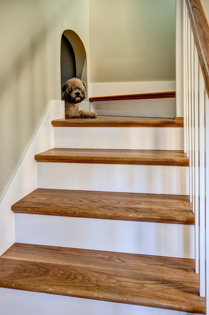 Wood Dog Crate Staircase Craftsman with Arched Opening Dog Alcove