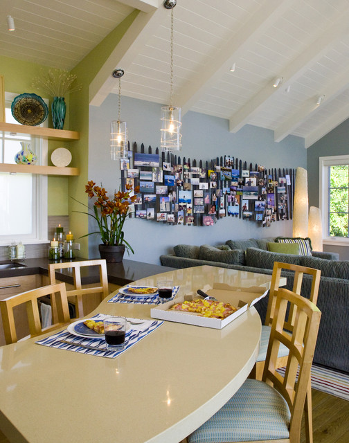 Wood Picket Fence Kitchen Beach with Architects and Designers Area