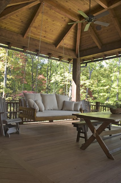 Wooden Porch Swings Porch Rustic with Adirondack Chairs Bed Swing