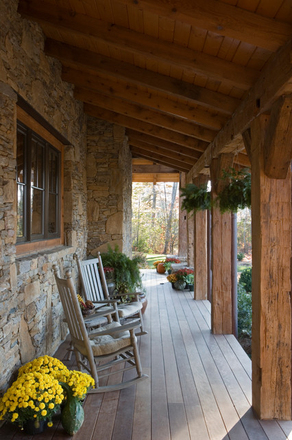 Wooden Porch Swings Porch Rustic with Cedar Siding Covered Porch