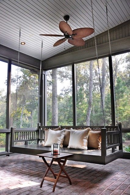 Wooden Porch Swings Porch Traditional with Bed Swing Brick Floor