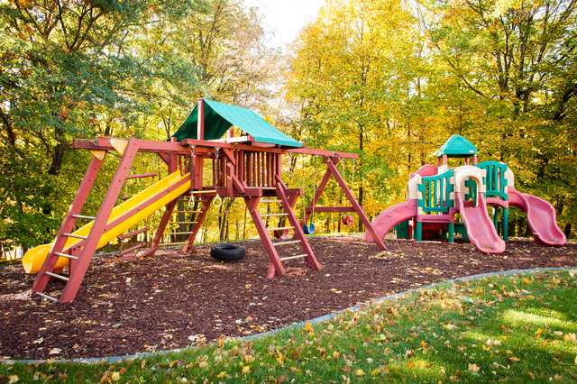 Wooden Swingsets Kids Traditional with Grass Lawn Mulch Landscape