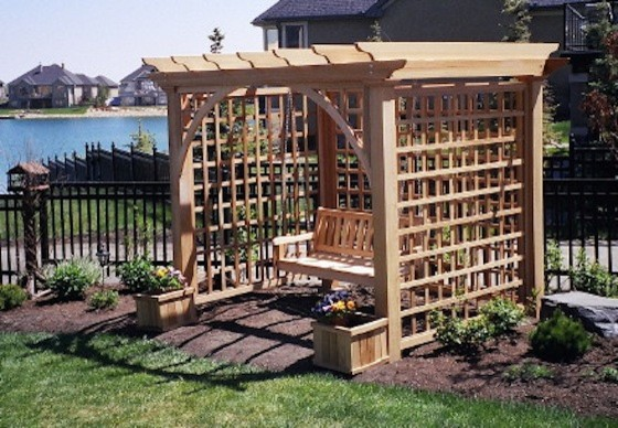 Wooden Swingsets Patio with Custom Wood Enclosure Deck