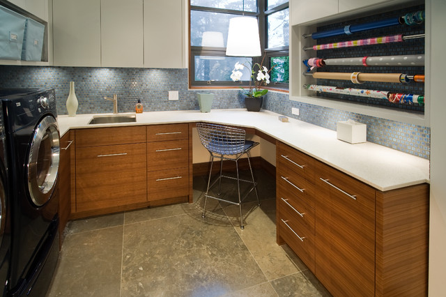 Wrapping Paper Storage Container Laundry Room Contemporary with Beige Cabinets Beige Countertop