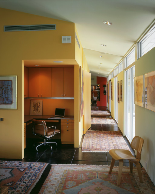 Yellow Jacket Hvac Home Office Midcentury with Area Rugs Ceiling Lighting