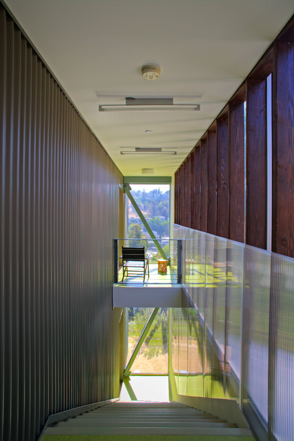 Yellow Jacket Hvac Staircase Contemporary with Corrugated Steel Entry Hall