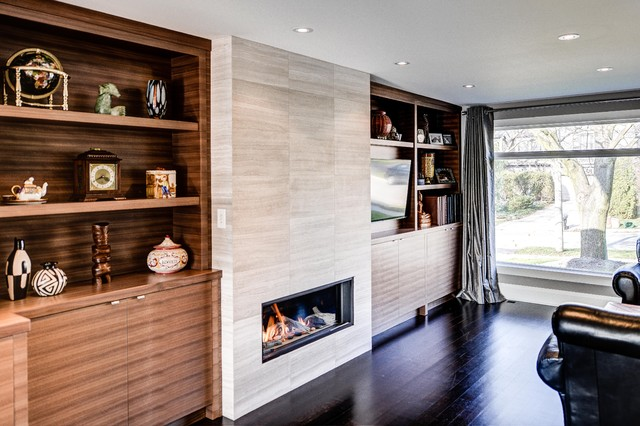 Zero Clearance Wood Burning Fireplace Family Room Contemporary with Additions Architect Basement Black