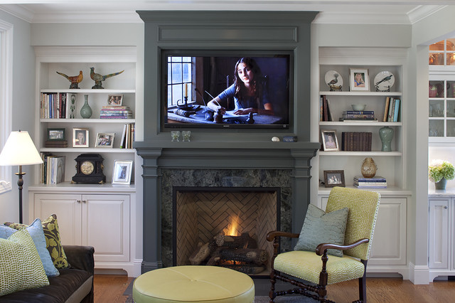 zero clearance wood burning fireplace Family Room Traditional with bookcase bookshelves built in