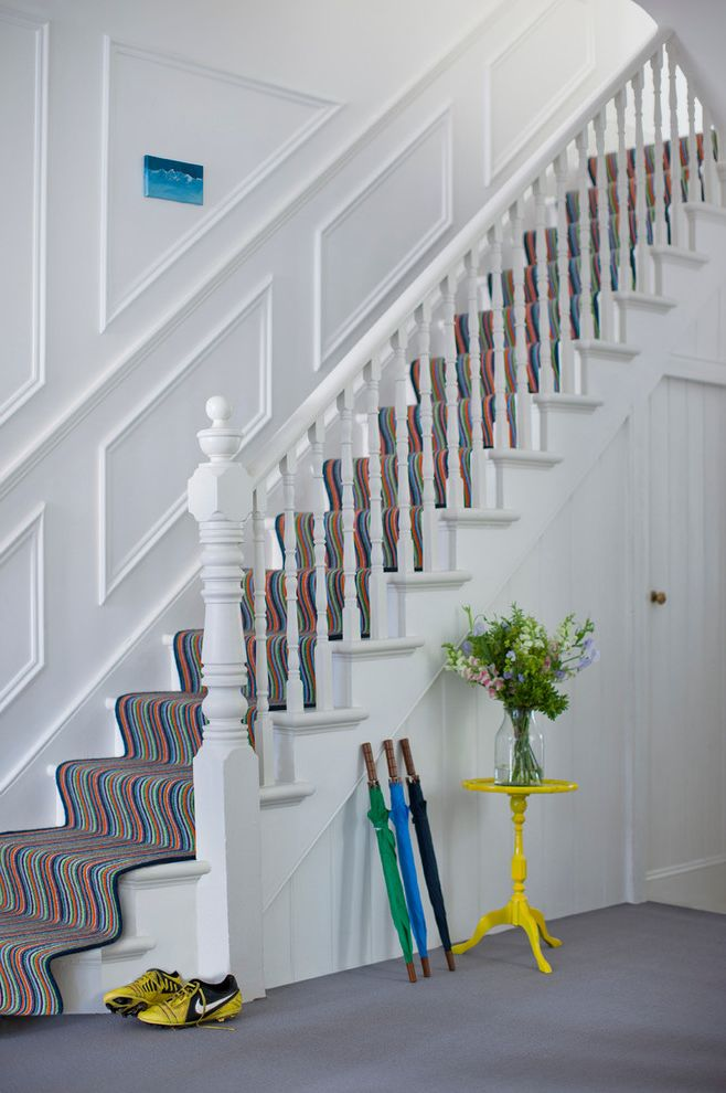 Striped Carpet for Stairs for Contemporary Hallway & Landing