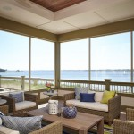 Indoor Outdoor Rugs with Beach Style Porch and Green Blue Area Rug