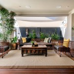 Indoor Outdoor Rugs with Contemporary Deck and Yellow Throw Pillow