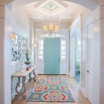 3 Piece Rug Set with Transitional Entry and  Arched Doorway  Colorful Area Rug  Traditional Design  Turquoise Door     Decorative Mirror
