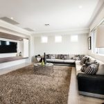 4x6 Area Rugs with Contemporary Living Room and  Tripod Floor Lamp     Sectional Sofa  Double Storey  Square Windows  Ben Trager Homes