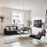 4x6 Area Rugs with Scandinavian Living Room and  Hanging Light Bulb  Cactus  White Rug     Black Sofa  Black Chair