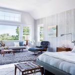 5x7 Area Rugs with Contemporary Bedroom and  Cedar Shake  Cape Cod  Eames Lounge Chair  Wooden Nightstand     Sloped Ceilings