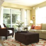 8 Round Rugs with Contemporary Living Room and  Curtains  Earth Tone Colors  Window Treatments     Throw Pillows  Floral Arrangement