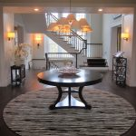 8 Round Rugs with Traditional Entry and  Entry Table  Black  Mahogany Table  Foyer  Round Table