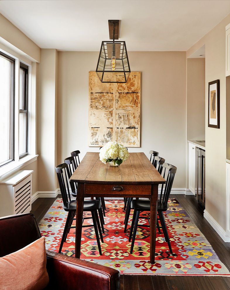 9 X 12 Rugs With Traditional Dining Room And Abstract Painting Art Farm Table Bright Rug Kilim