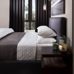 9x12 Area Rugs with Contemporary Bedroom and  Masculine  Wool Window Treatments     Small Nightstand  Master Bedroom  Hanging Pendants