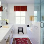 9x12 Area Rugs with Farmhouse Bathroom and  Double Hung Windows  Red Accent  Wall Mount Faucet  Double Vanity  Window Treatments