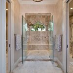 Animal Skin Rugs with Beach Style Bathroom and  Walk in Shower     Large Shower  Luxury Bath  Walk in Closet  Double Shower Door