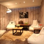 Animal Skin Rugs with Contemporary Living Room and  Animal Skin Rug  Oversize Floor Lamp  Bean Bag Chairs  Animal Skin  Relaxing Area