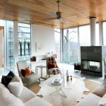 Animal Skin Rugs with Contemporary Living Room and  White Couch  Glass Walls  Wood Ceiling     Animal Skin Rug