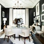Animal Skin Rugs with Transitional Dining Room and  Crown Molding     Black and White  Ceiling Detail  Animal Skin Rug  Black Painted Walls