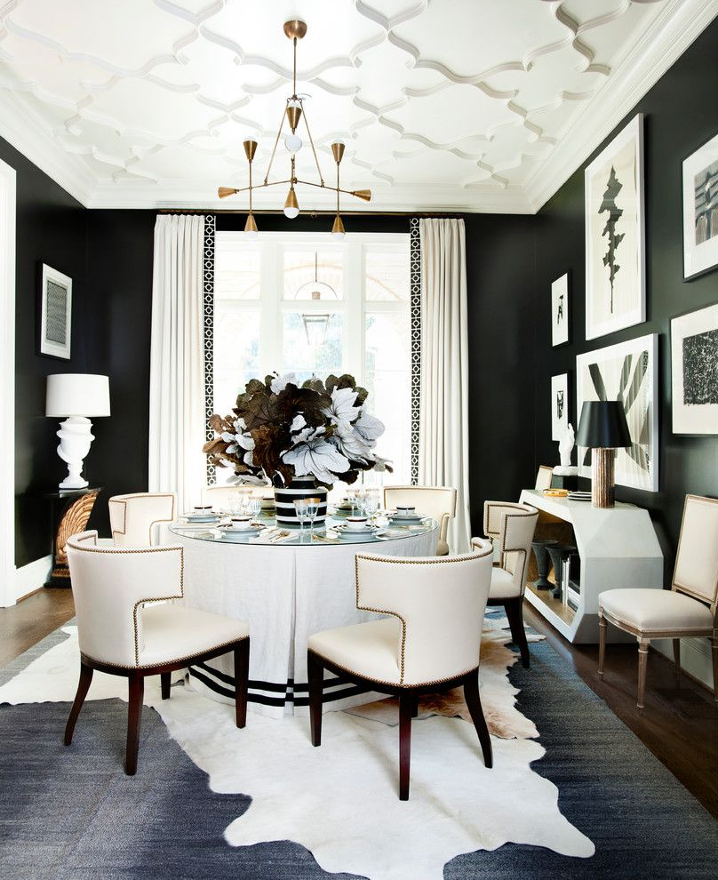Animal Skin Rugs with Transitional Dining Room and Crown Molding ...