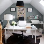 Animal Skin Rugs with Transitional Home Office and  Vaulted Ceiling  Desk Lamp  Drafting Table  Creative Space  Cowhide Rug
