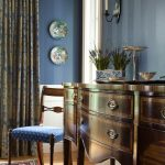 Antique Oriental Rugs with Traditional Dining Room and  Sconce  Blue Walls  Oriental Rug  Wainscoting  Area Rug