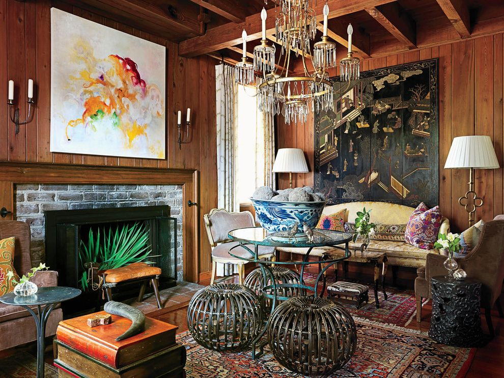 Antique Oriental Rugs with Traditional Living Room and ...