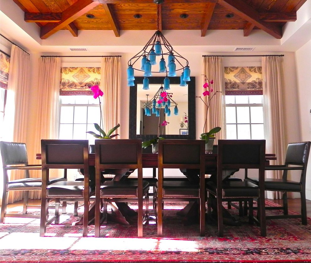 Antique Persian Rugs With Eclectic Dining Room And Centerpiece Oriental Rug Chandelier Ceiling Lighting Window Treatments