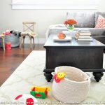 Area Rugs Home Depot with Transitional Living Room and  Family  Kid Friendly  Orange Pillows  Space  Grey Basket