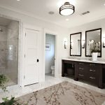 Area Rugs Lowes with Traditional Bathroom and  Tile Flooring  Wood Trim     Glass Shower Door  Double Sinks  Ceiling Lighting