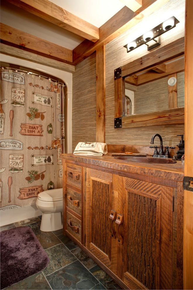 Bath Rug Sets with Rustic Bathroom and Wall Sconce Cabinetry Framed ...