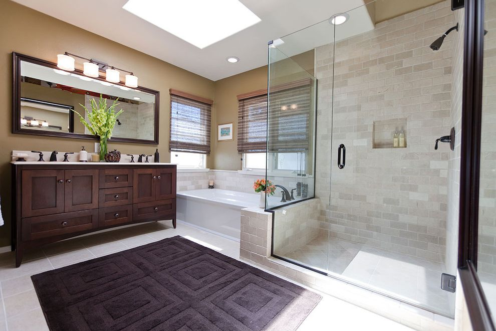Bath Rug Sets With Traditional Bathroom And Shower Tile Ceiling Lighting Tan  Walls Neutral Tones Rich Wood Cabinet