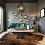 Bear Skin Rug with Head with Contemporary Living Room and  Gold Accent Table  Dark Gray Walls  Animal Hide  Light Wood Floor  Black Floor Lamp