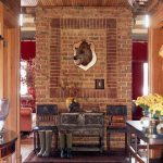 Bear Skin Rug with Head with Rustic Entry and  Wall Decor  Chinking  Antique Wood Floors  Foyer  Wood Ceiling