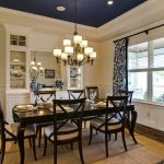 Bfg Rugged Terrain with Traditional Dining Room and  Blue and White  Sisal Rug  Mirror  Custom Drapery Panels  Tray Ceiling
